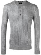 Tom Ford - Ribbed Buttoned Jumper - Men - Silk/cashmere - 52, Grey, Silk/cashmere