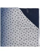 Altea Frayed Hem Star Print Scarf - Blue