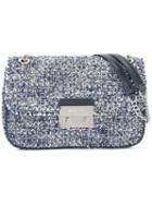 Michael Michael Kors Tweed Crossbody Bag, Women's, Blue, Leather/cotton