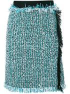 Lanvin Bouclé Wrap Skirt, Women's, Size: 38, Blue, Silk/cotton/acrylic/wool