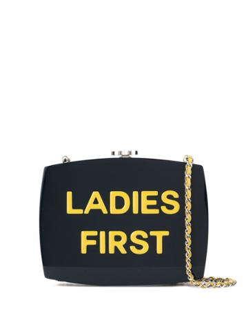 Chanel Vintage Ladies First 5x5 Single Chain Clasp Shoulder Bag - Blue