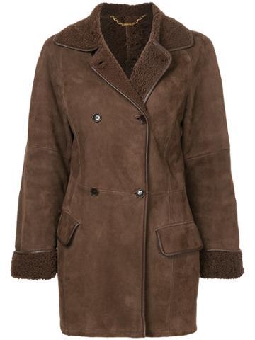Loewe Fur Effect Double-breasted Coat - Brown