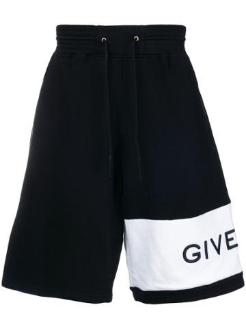 Givenchy Oversized Asymmetric Logo Track Shorts - Black
