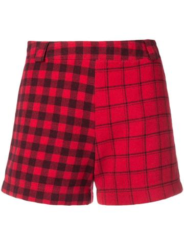Versace Vintage 1990 Check Shorts - Red