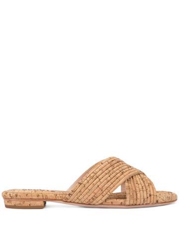 Schutz Cork Cross-over Sandals - Brown