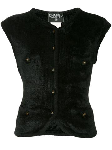 Chanel Vintage Chanel Cc Button Sleeveless Tops - Black
