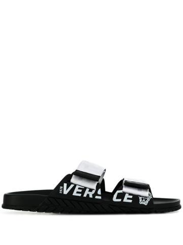 Versace Touch Strap Slides - White