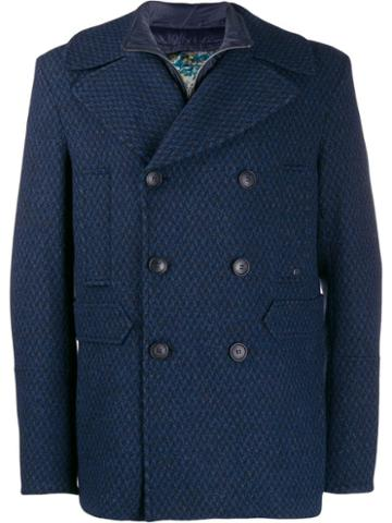Etro Double-breasted Wool Coat - Blue