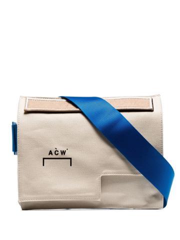 A-cold-wall* Cream Contrast Strap Asymmetric Messenger Bag - Neutrals