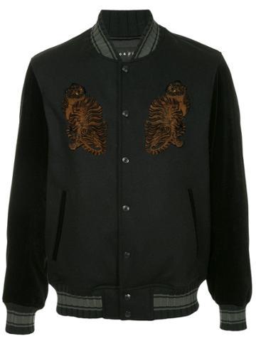 Roarguns Leopard Applique Bomber Jacket Jackets - Black
