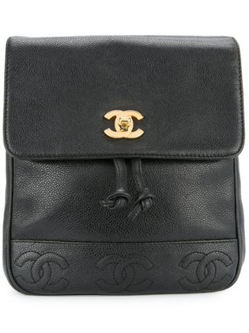 Chanel Vintage Cc Stitch Backpack - Black