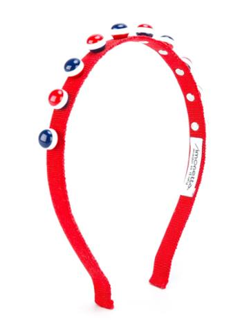 Simonetta Embellished Hair Band, Kids Unisex, Red, Cotton/plastic/metal