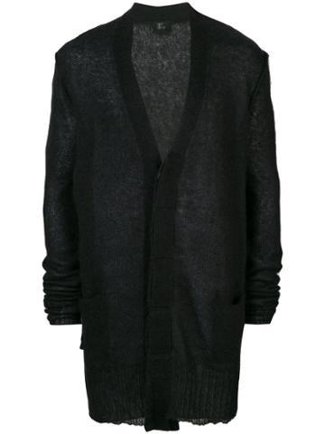 Lost & Found Ria Dunn - Ribbed Detail Cardigan - Men - Linen/flax/nylon/mohair/wool - M, Black, Linen/flax/nylon/mohair/wool
