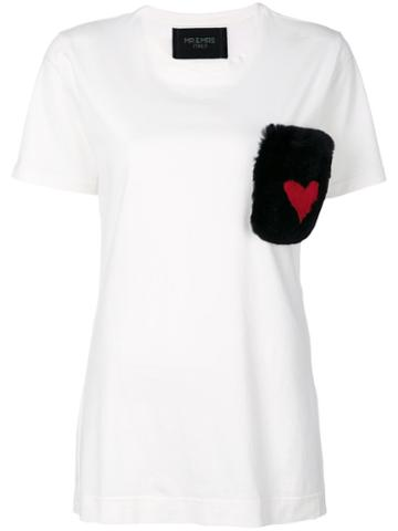 Mr & Mrs Italy - Fur Pocket T-shirt - Women - Cotton/rabbit Fur - M, White, Cotton/rabbit Fur