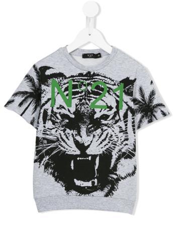 No21 Kids Tiger Print T-shirt, Boy's, Size: 10 Yrs, Grey