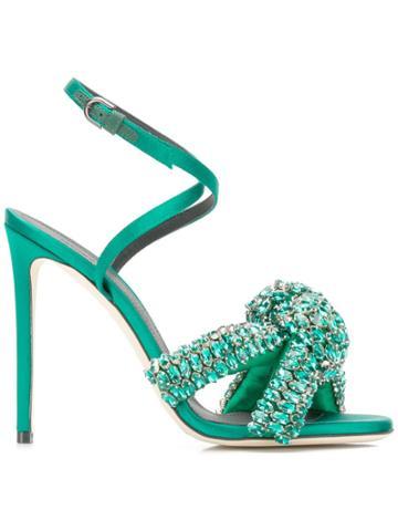 Marco De Vincenzo Rhinestone Knot Sandals - Green