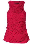 Haider Ackermann Polka Dot Ruched Tank Top - Red