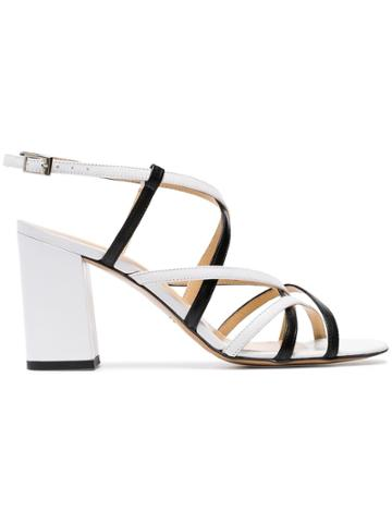 Kalda White And Black Pip 85 Strappy Leather Sandals