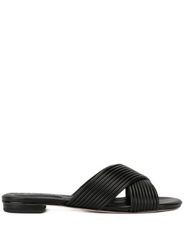 Schutz Ribbed Cross-over Sandals - Black