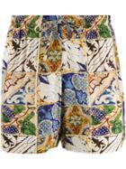 Esteban Cortazar Tile Print Swim Shorts - Neutrals