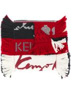 Kenzo Fringed Striped Scarf - Red