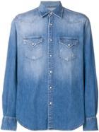 Eleventy Distressed Denim Shirt - Blue