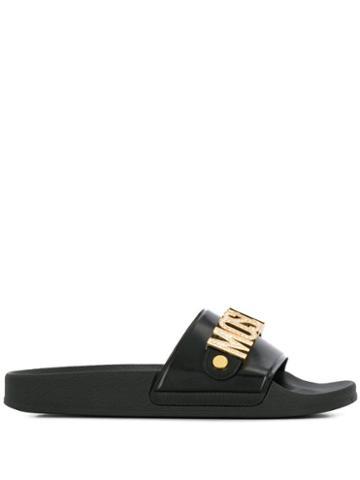 Moschino Embellished Logo Slide Sandals - 0
