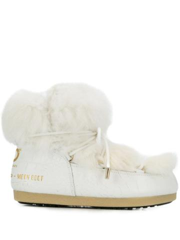 Moon Boot Chunky Fur Boots - White
