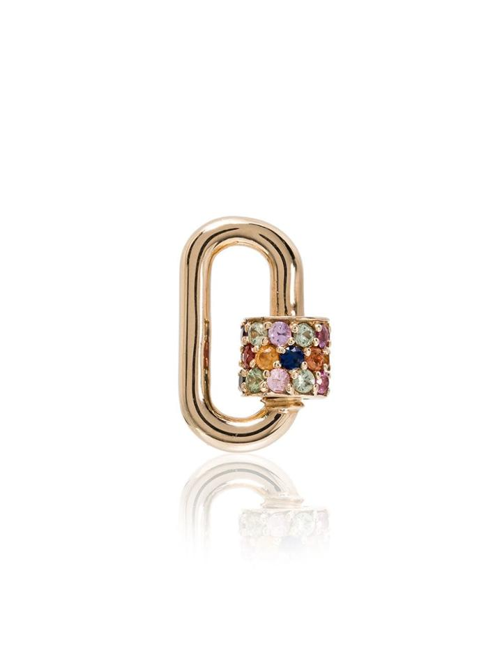 Marla Aaron Multicoloured Sapphires And 14k Gold Lock Charm - Metallic
