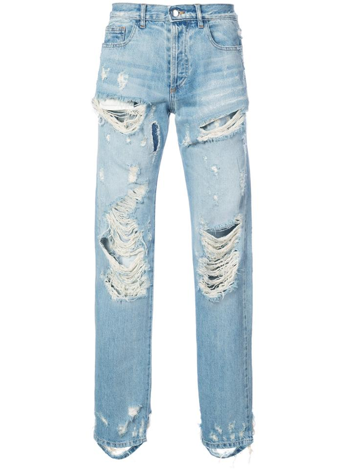 Faith Connexion Distressed Straight Leg Jeans - Blue