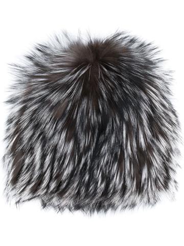 Agnona Textured Furry Beanie - Grey