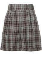 Cityshop Plaid Shorts - Brown