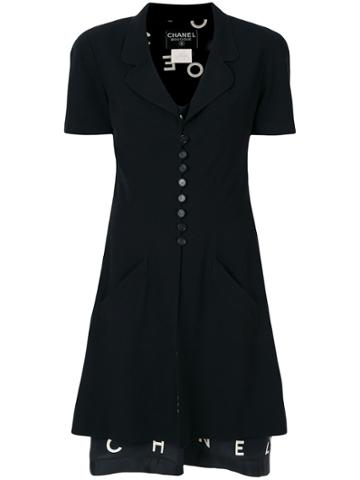 Chanel Vintage Lettering Print Layered Dress - Black
