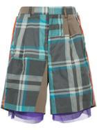 Kolor Asymmetric Plaid Shorts - Brown