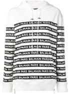 Balmain Logo Striped Hoodie - White