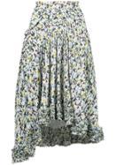 Chloé Asymmetric Floral-print Skirt - Blue
