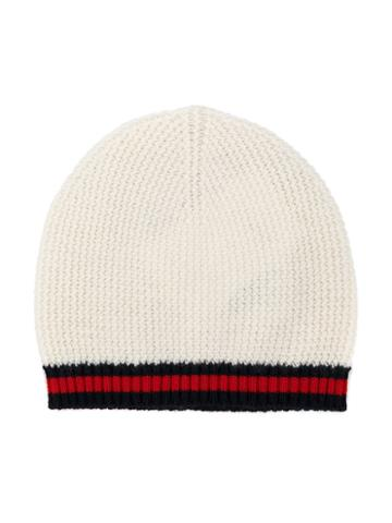 Gucci Kids - Striped Knitted Beanie - Kids - Cashmere/wool - 46 Cm, Nude/neutrals