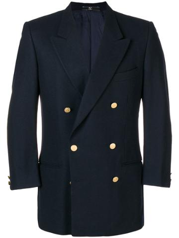 Valentino Vintage Peaked Lapels Double-breasted Jacket - Blue