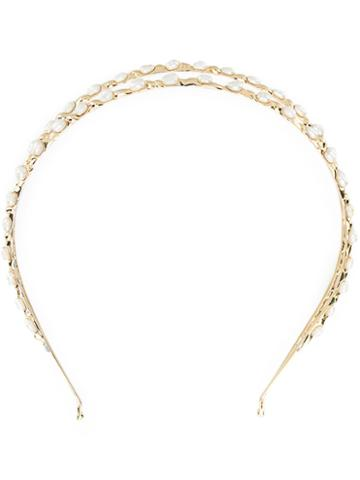 Rosantica Pearl Embellished Hair Band, Women's, Metallic, 24kt Gold Plated Metal/pearls