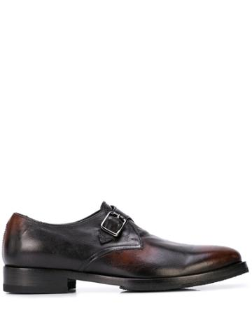 Alberto Fasciani Burnished Monk Shoes - Brown