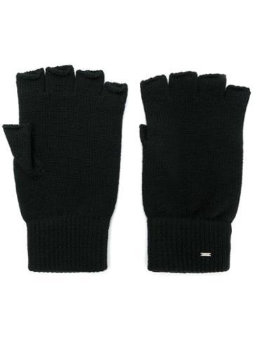 Saint Laurent Fingerless Wool Gloves - Black