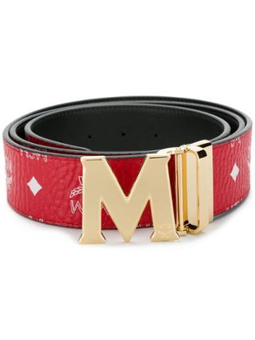 Mcm M Buckle Belt - Red