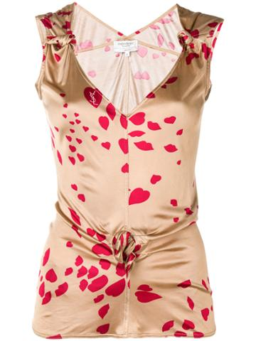 Yves Saint Laurent Vintage Hearts And Lips Logo Top - Nude & Neutrals