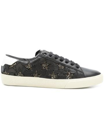 Saint Laurent Glitter Star Sneakers - Black