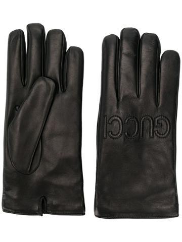 Gucci Logo Embossed Gloves - Black