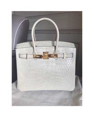 Hermès Vintage Birkin 30cm Beton Matt Alligator With Gold -