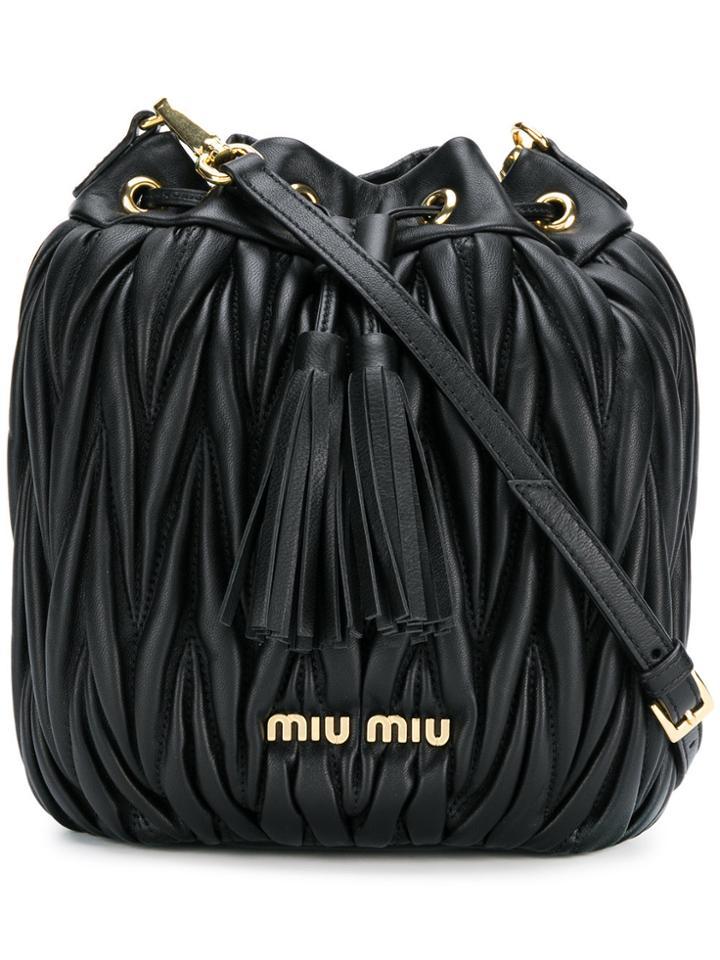 Miu Miu Matelassé Mini Bucket Bag - Black