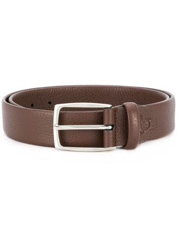 Canali Textured Leather Belt - Brown