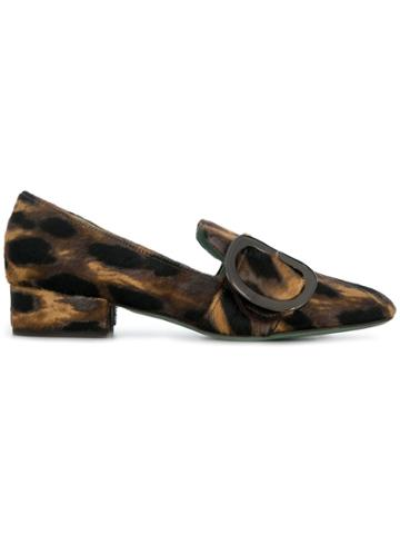 Paola D'arcano Leopard Print Loafers - Brown