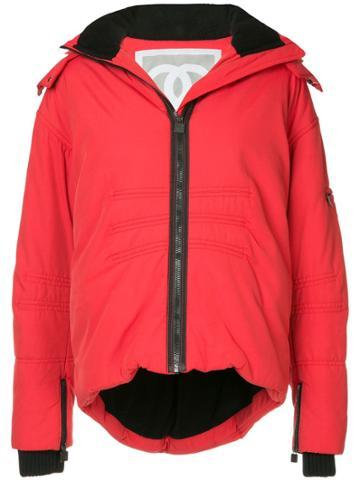 Chanel Vintage Hooded Fleece Lined Jacket - Red